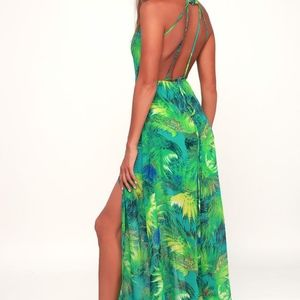 TROPIC OF DISCUSSION GREEN TROPICAL PRINT MAXI DRE
